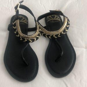 Fergalicious Black and Gold Sandal
